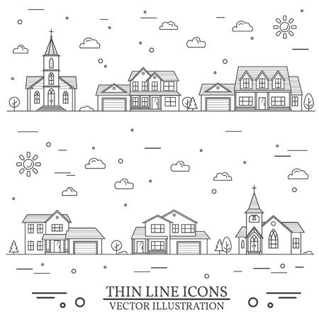Nachbarschaft mit Häusern und Kirchen Illustration. Standard-Bild - 75846204