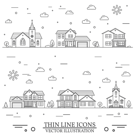 Neighborhood with homes and churches illustration.