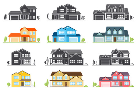 Silhouette illustration of houses.