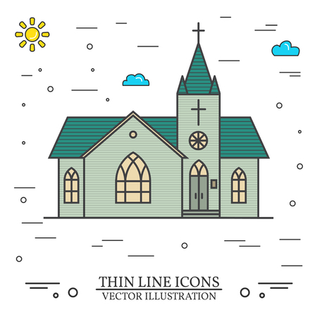 Beautiful Vector thin line icon church.