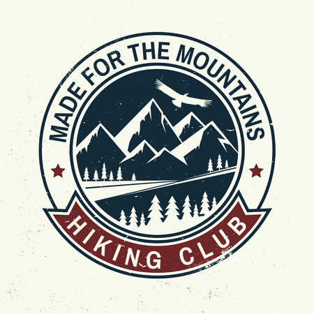 Made for the mountains - hiking club concept design. Vettoriali