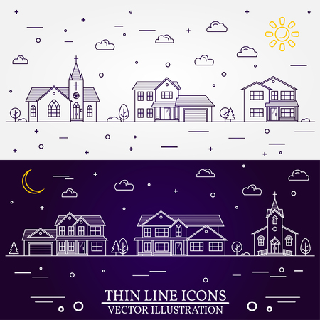 Neighborhood with homes illustrated white and purple background. Illustration