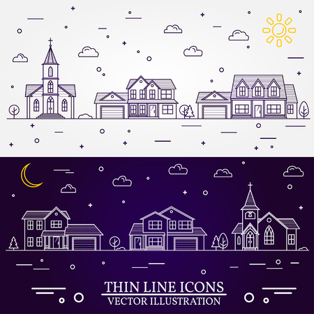 Neighborhood with homes illustrated in white and purple.