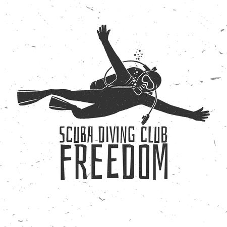 スキューバ ダイビング クラブ - 自由の図。  イラスト・ベクター素材