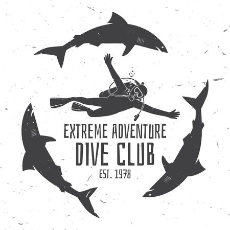Club di immersioni subacquee. Illustrazione vettoriale. Archivio Fotografico - 75806505