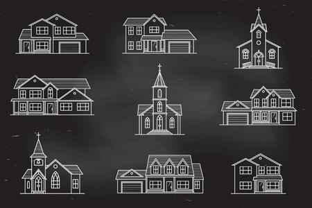 Set of vector thin line icon suburban american houses. Illustration