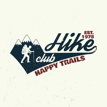 Hike club Happy trails. Ilustração