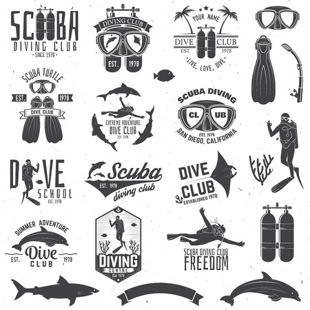 スキューバ ダイビング センター、ダイビング ・ スクール ・ デザインのセットです。  イラスト・ベクター素材