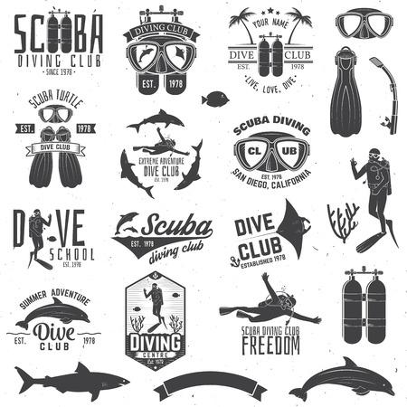 Zestaw klubu do nurkowania z akwalungiem i szkół nurkowania. Ilustracje wektorowe