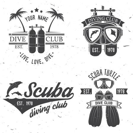 스쿠버 다이빙 클럽 및 다이빙 학교 디자인의 집합입니다. 일러스트