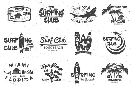 Surfclub und Surfschule Design. Vektorgrafik