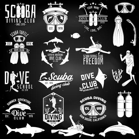 スキューバダイビングクラブとダイビングスクールのデザインのセット。  イラスト・ベクター素材