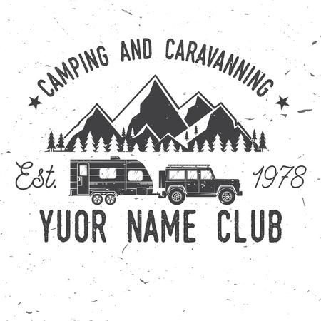 Camper e club di carovana. Illustrazione vettoriale. Archivio Fotografico - 77490452