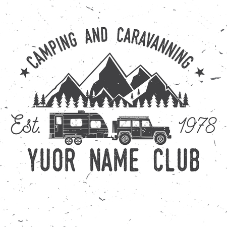Camper and caravaning club. Vector illustration.