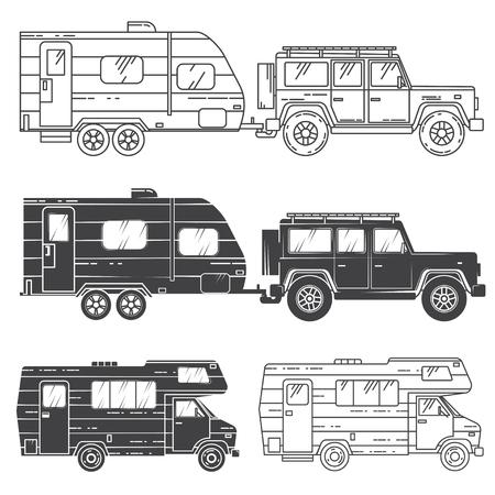 Conjunto de iconos de autocaravanas.
