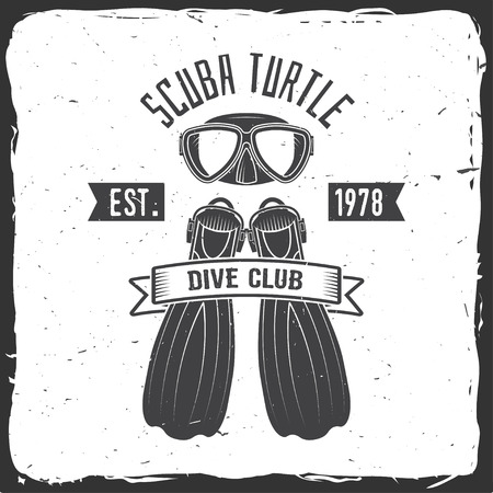 Scuba turtle dive club. Vector illustration.