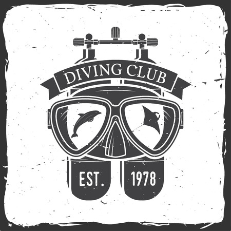 Diving club. Vector illustration.