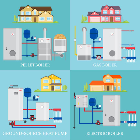 Types of heating systems. Фото со стока - 77426915