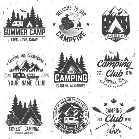 Camping extreme adventure . Vector illustration. Stock Illustratie