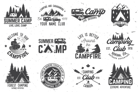 Summer camp. Vector illustration. Concept for shirt or logo, print, stamp or tee. Çizim