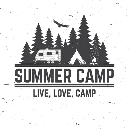 Summer camp. Vector illustration. Concept for shirt or logo, print, stamp or tee. Vectores