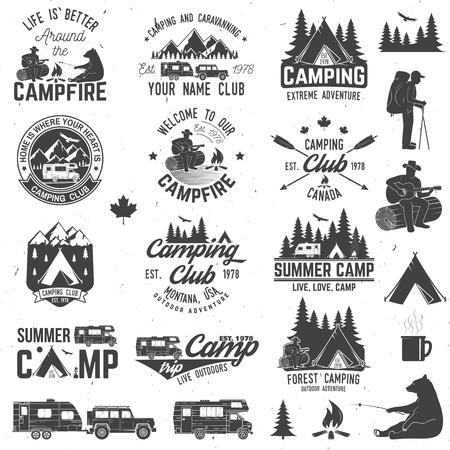 여름 캠프. 벡터 일러스트 레이 션. 셔츠 또는 로고, 인쇄, 스탬프 또는 티에 대 한 개념. 일러스트