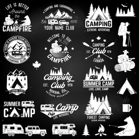 Summer camp. Vector illustration. Concept for shirt or logo, print, stamp or tee. Stock Illustratie