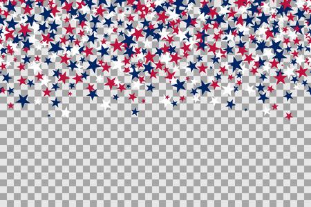 Naadloos patroon met sterren voor Memorial Day-viering op transparante achtergrond. Stock Illustratie