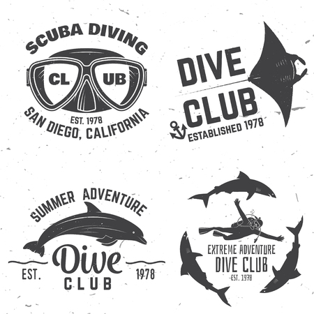 Scuba diving club. Vector illustration.