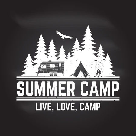 Summer camp. Vector illustration. Concept for shirt or logo, print, stamp or tee. Ilustração