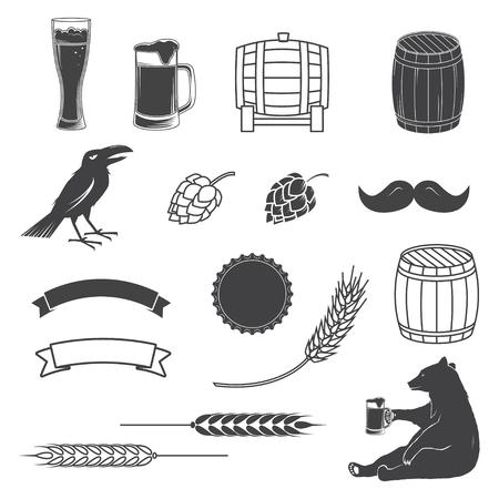Satz Handwerks-Bierelemente lokalisiert auf dem weißen Hintergrund. Standard-Bild - 80101927
