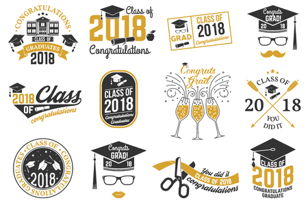Vector Class of 2018 badge. Ilustrace