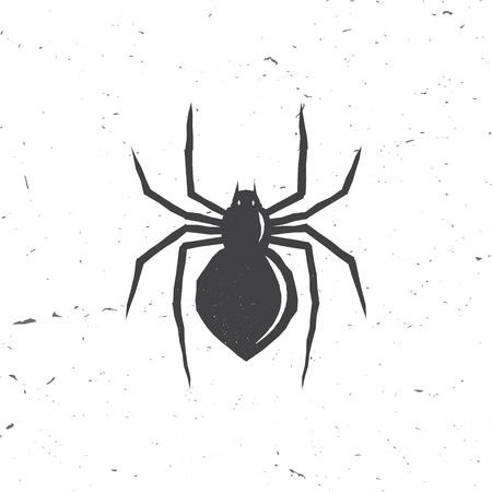 Spinnen silhouet in retro stijl. Stock Illustratie