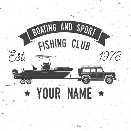 ボート、スポーツ釣りクラブ。ベクトルの図。