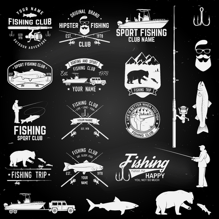 Sport Fishing club. Vector illustration. Çizim