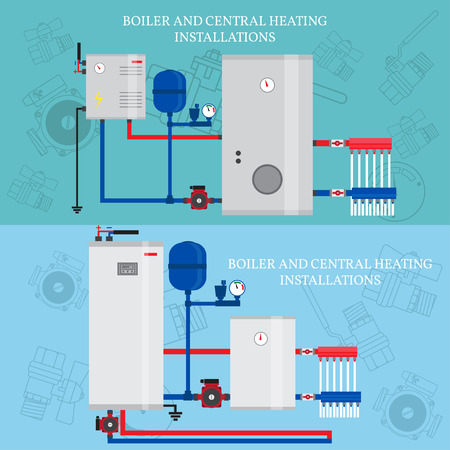 boiler: Boiler and central heating installations, flat heating conce Illustration