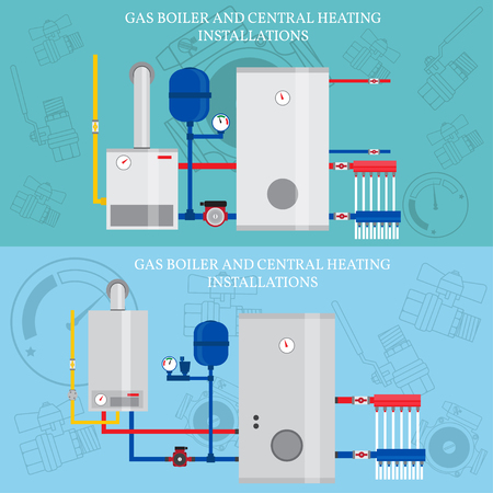 Boiler and central heating installations, flat heating conce Stock Illustratie