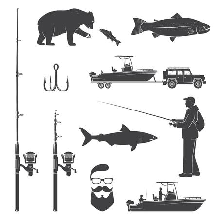 釣りアイコンのセットです。ベクトルの図。