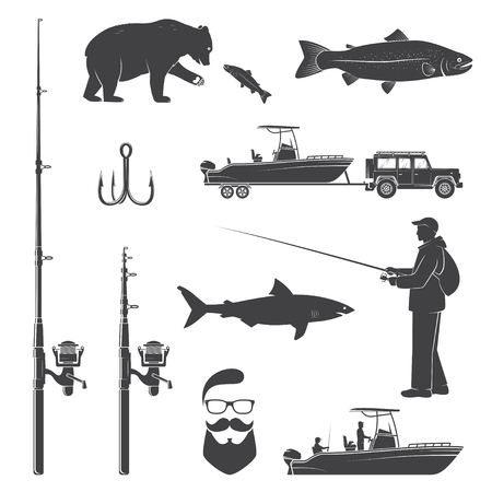 Set of fishing icon. Vector illustration.