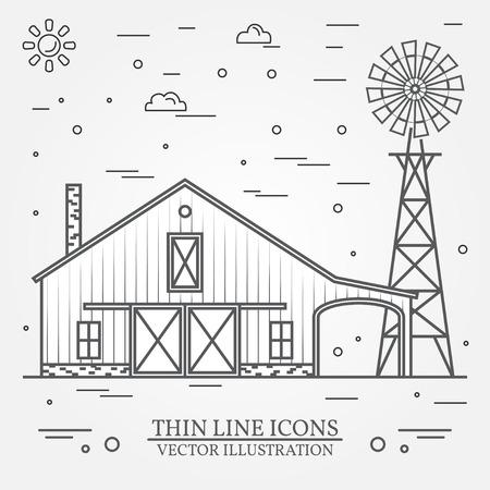 Thin line american farm icon.