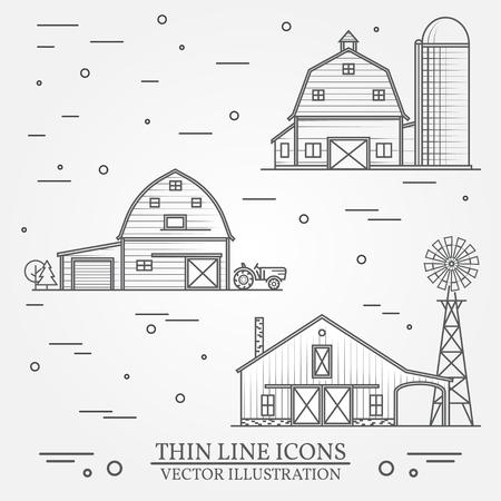얇은 라인 미국 농장 아이콘의 집합입니다.