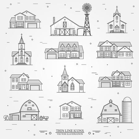 ベクトル細い線アイコン都市アメリカの家のセット。  イラスト・ベクター素材