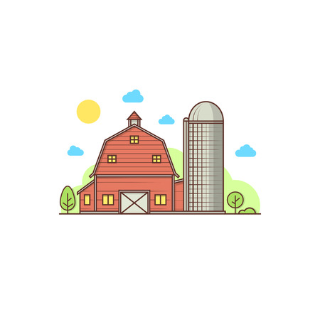 Thin line american farm icon vector illustration. Ilustrace