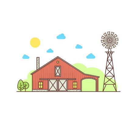 얇은 라인 미국의 농장 아이콘.