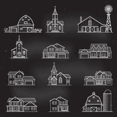 Set of vector thin line icon suburban american houses. Çizim