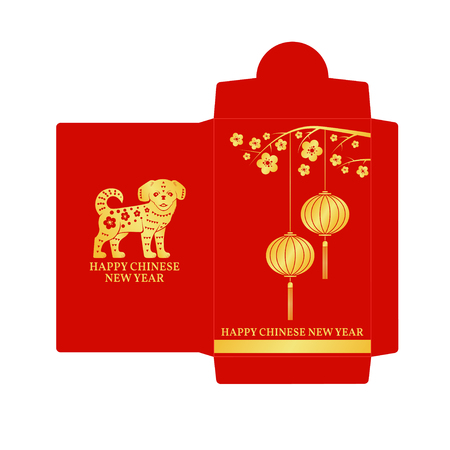 Chinese New Year red envelope flat icon. Vectores