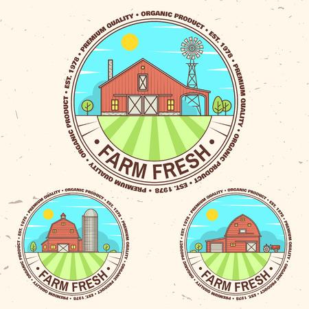 Fresh farm badge, label or sign in vintage style. Ilustração