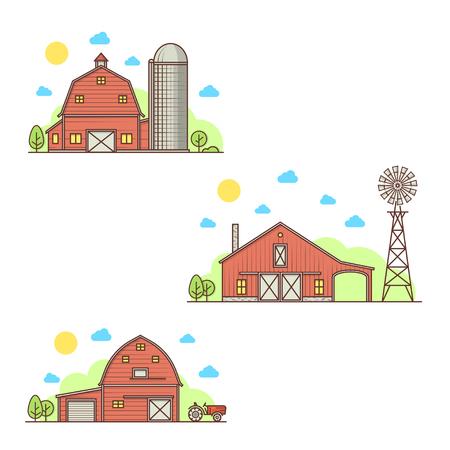 Set of american farm icon.