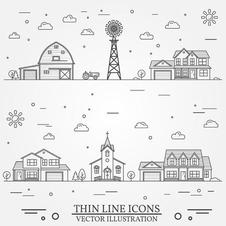 Neighborhood with buildings illustrated on white Zdjęcie Seryjne - 83157871