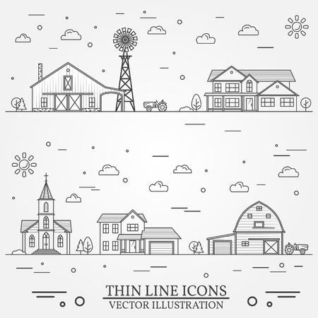 흰색에 설명 된 건물들과 이웃 일러스트